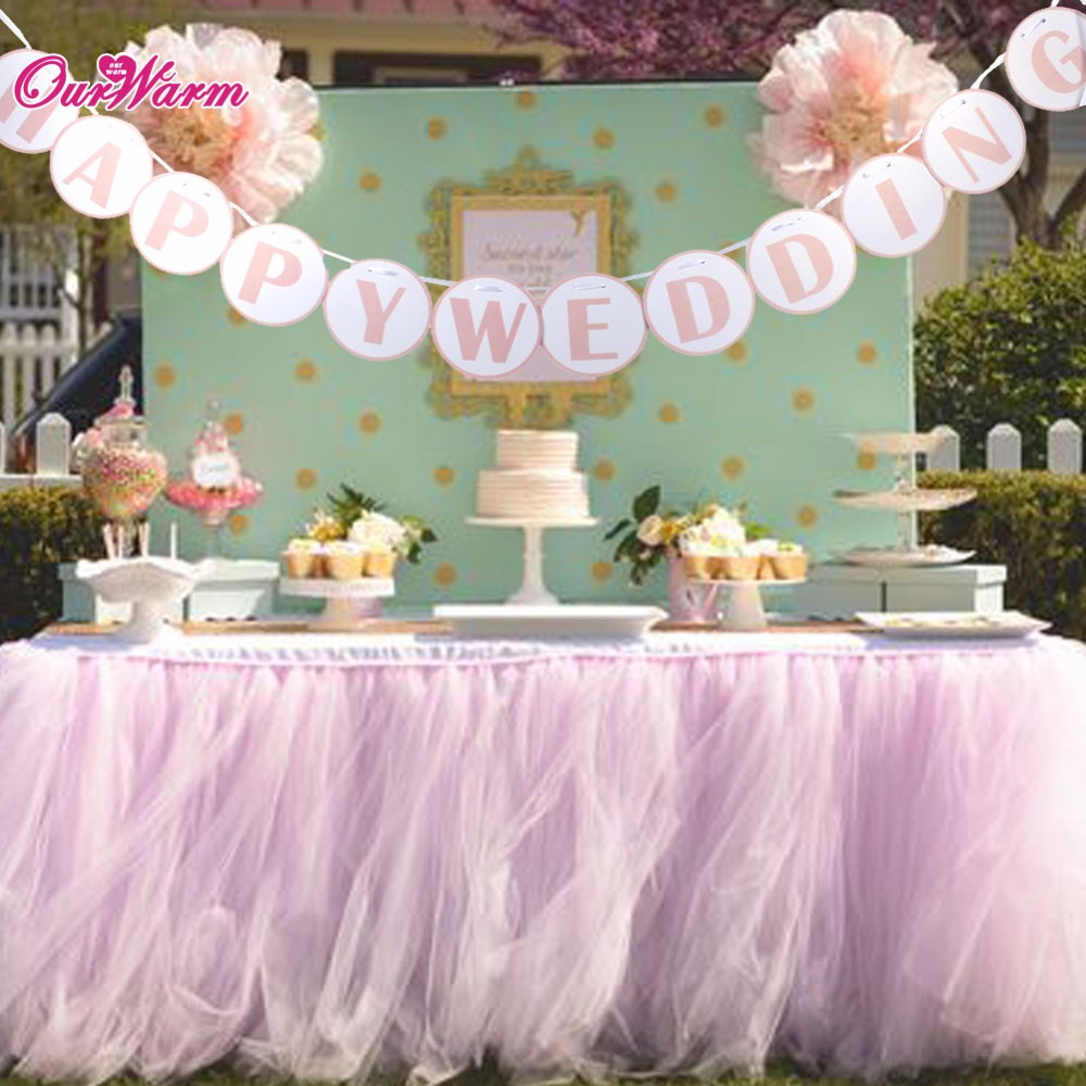 Happy Wedding Banner Wedding Kraft Paper Card Flags And