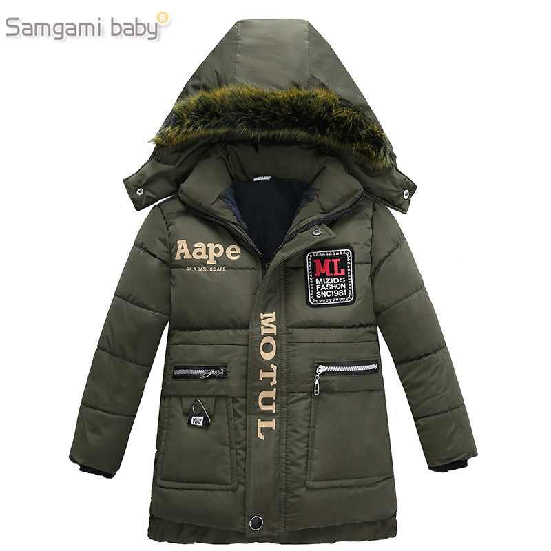 Boys Coat Clothing Jackets Outerwear Hooded BABY Fashion-Style Kids Winter Cotton Letter