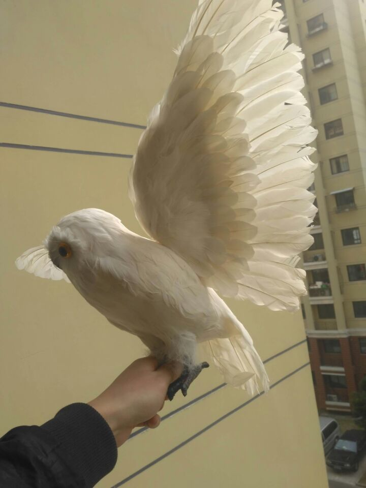 big white simulation owl toy foam furs wings owl model doll gift about 50x32cm