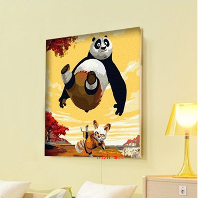 Handmade Abstract Animal Painting Decor Picture On Canvas Kung Fu ...