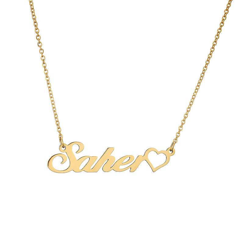 Custom Women Jewelry Personalized Gold Nameplate Necklace Simple Hollow Heart Necklace In Pendant Necklaces in Pendant Necklaces from Jewelry Accessories