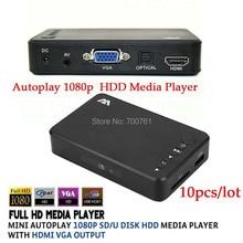 10pcs Mini Autoplay Full HD1080p USB External SD U Disk font b HDD b font Media