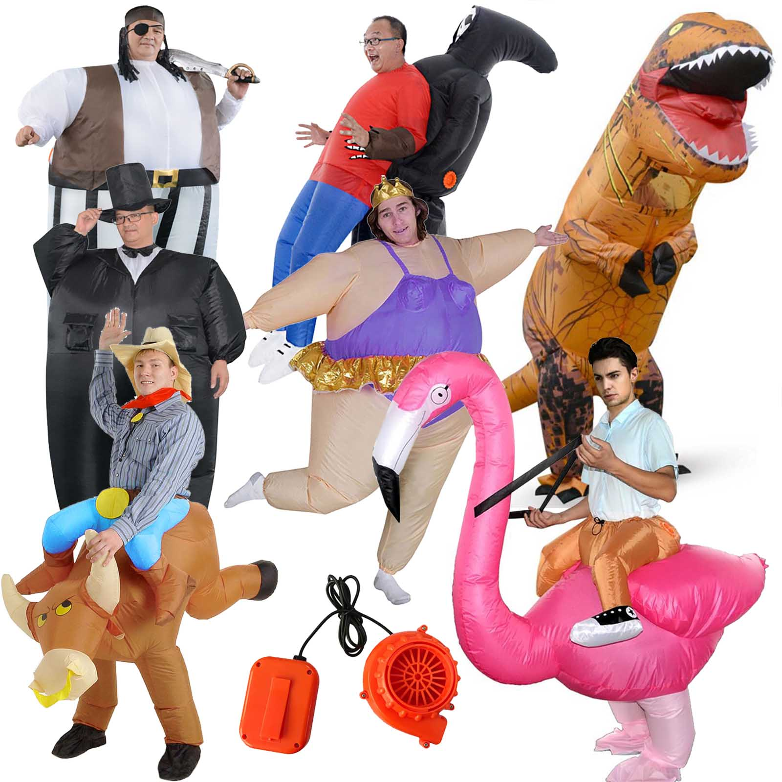 Halloween Inflatable Costume For Adult Kids Blow Up Fat Suit Funny Fancy Dress Party Ghost Grim Reaper Dinosaur Clown Pirate