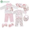 18 шт./компл. новорожденной девочки одежда 0-3 месяцев с длинным рукавом хлопок новорожденного мальчика одежда подарочные наборы костюм летние детской одежды