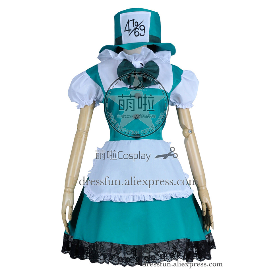 Alice In Wonderland Cosplay Mad Hatter Costume Outfits Full Set Halloween Fashion Fast Shipping Comfortable Clothing