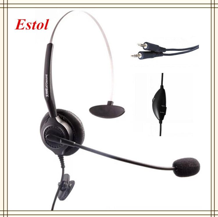 3,5mm Dual Stecker Compluter Stecker Headset Sprach Lautstärke Einstellbar Mute Key Call-center Kopfhörer Mono Mono Einziges Ohr Telefone & Zubehör