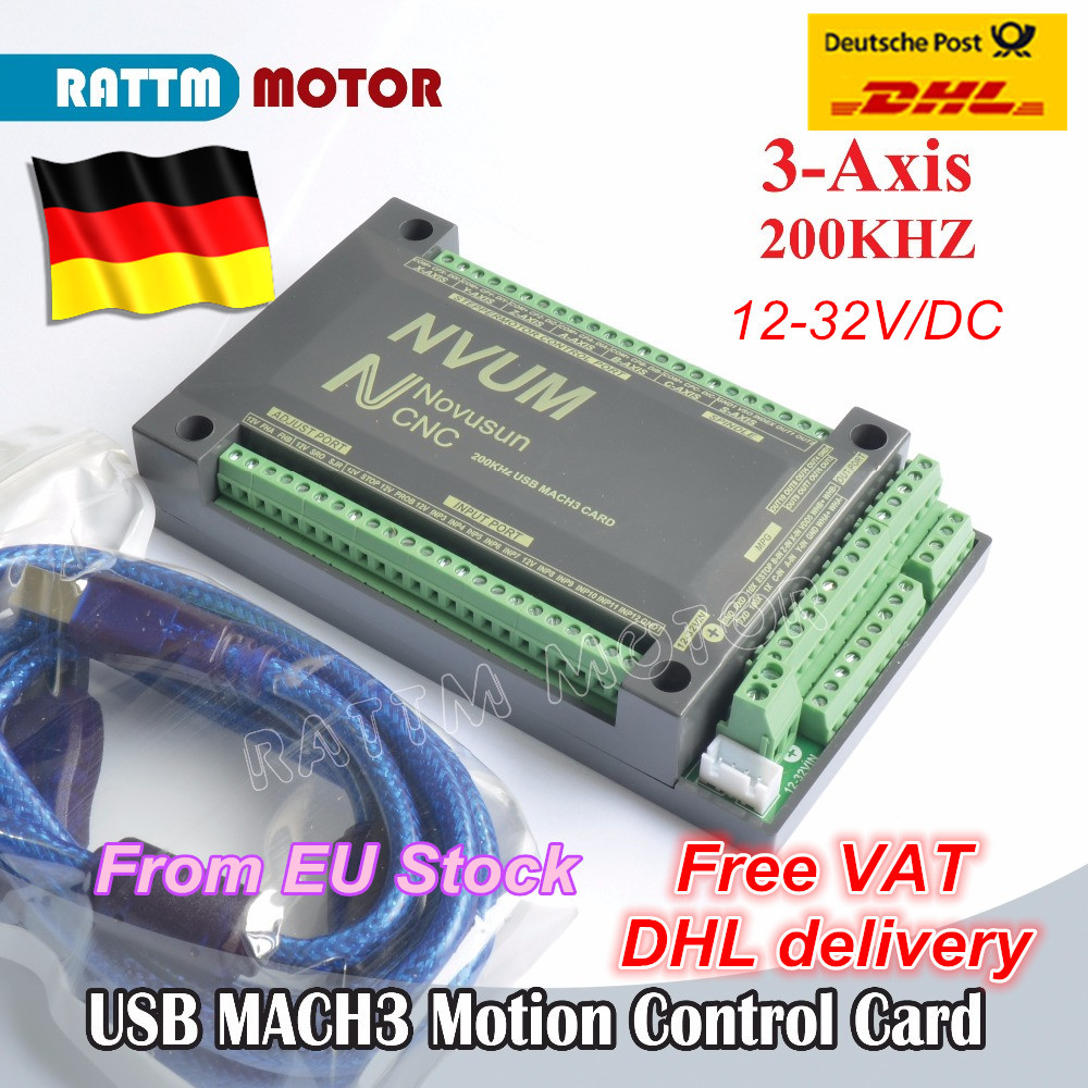 3-Axis NVUM CNC Controller 200KHZ MACH3 USB Motion Control Card for CNC Router Mill Stepper Motor Servo motor from RATTM MOTOR cnc mach3 lpt port usb motion card controller for stepper motor engraving