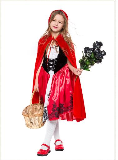 New high quality Little Red Riding Hood cosplay costume princess halloween fancy dress clothing for Kids girl whole set