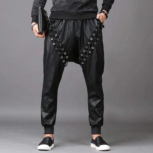 Men Fashion Joggers PU Faux Leather Harem Drop Crotch Pants Jeans Casual Street Dance Moto & Biker DJ Rock Rivets Slacks Trouser 2