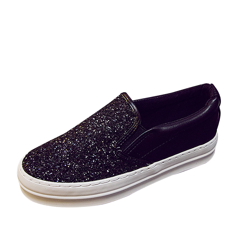 Estudiantes Pisos Gruesos De Awf0081 Casual Bling Slip Alpargatas Zapatos Lentejuelas Lona Primavera Mocasines on Mujeres Joyhopy Señoras wT0fHqW