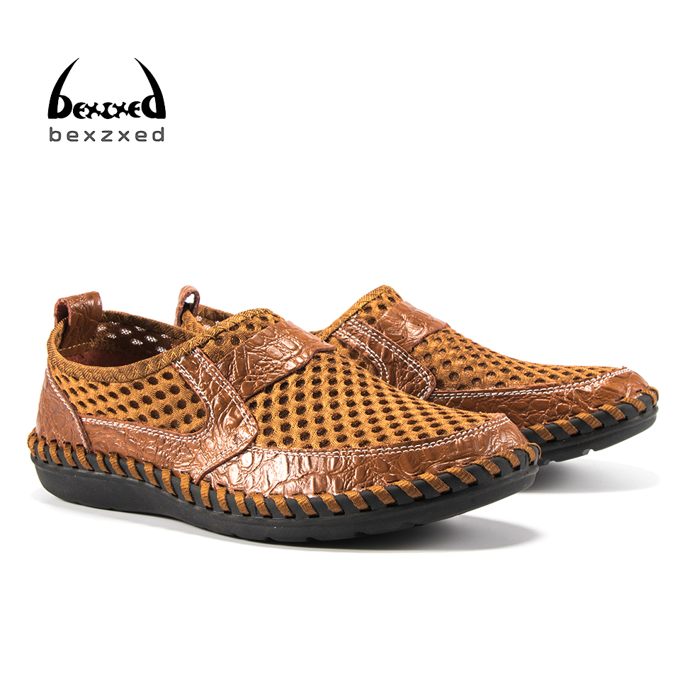 Bexzxed Hot Handmade Casual Shoes For Men summer Loafers Comfortable Soft Flats Male Driving Shoes Slip On Split Leather Shoes men s genuine leather casual shoes handmade loafers for male men waterproof flat driving shoes flats