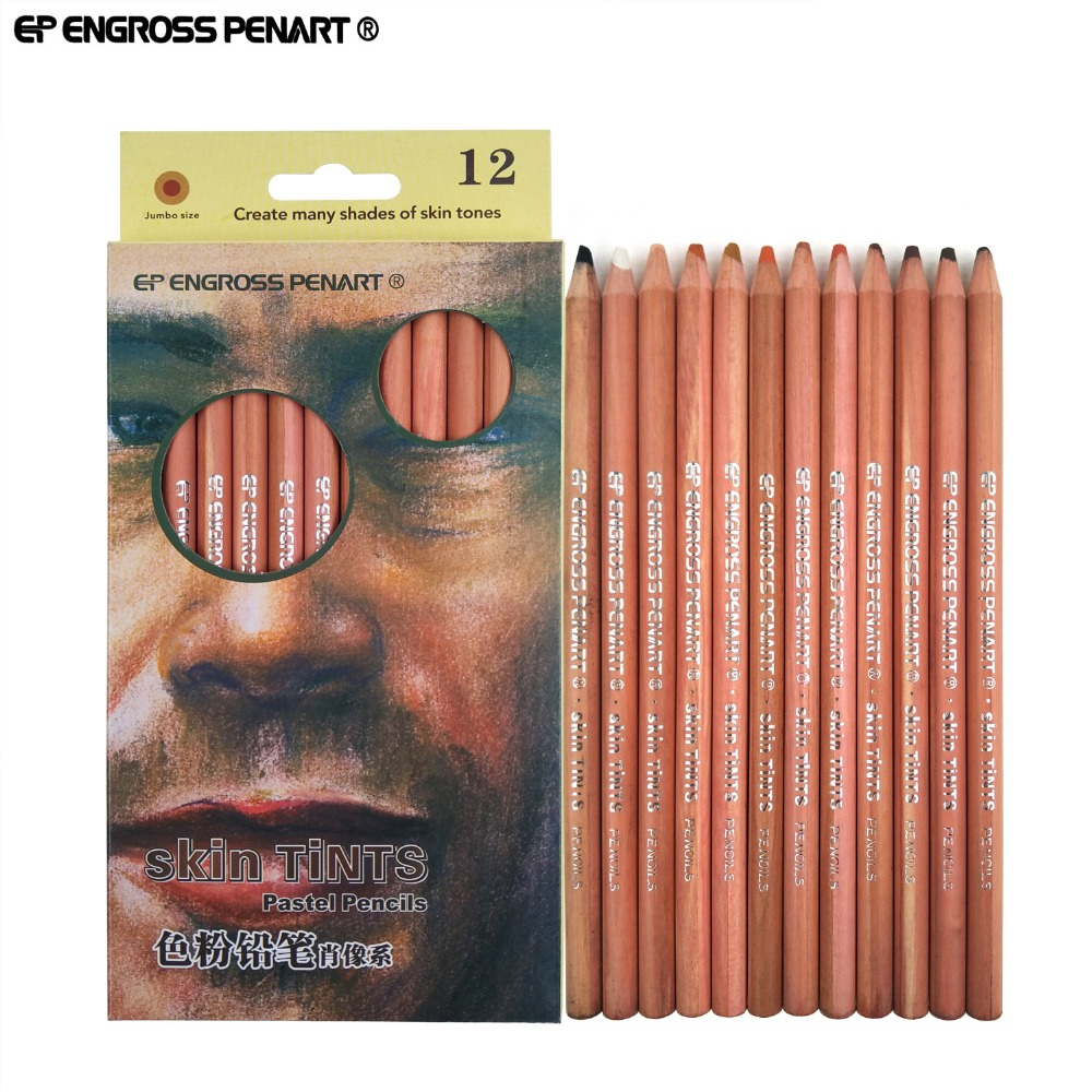 Artista 12/24 Núcleo Macio Colorido Lápis Pastel de lapis de cor profissional Esboço Lápis para Desenho de Giz Cor Da Pele de Abastecimento De Arte
