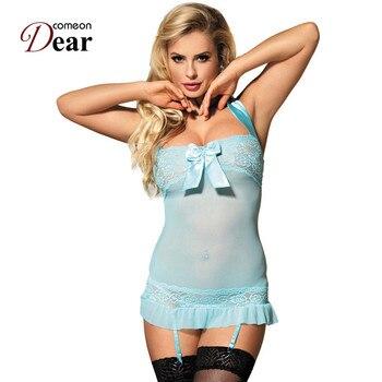 47e9e8be8dca Comeondear RA80012 Camisola Sexy Lencería bebé muñeca femenina Sexy mujer  erótica transparente Intimo Donna Hot Bow Sexy ropa interior