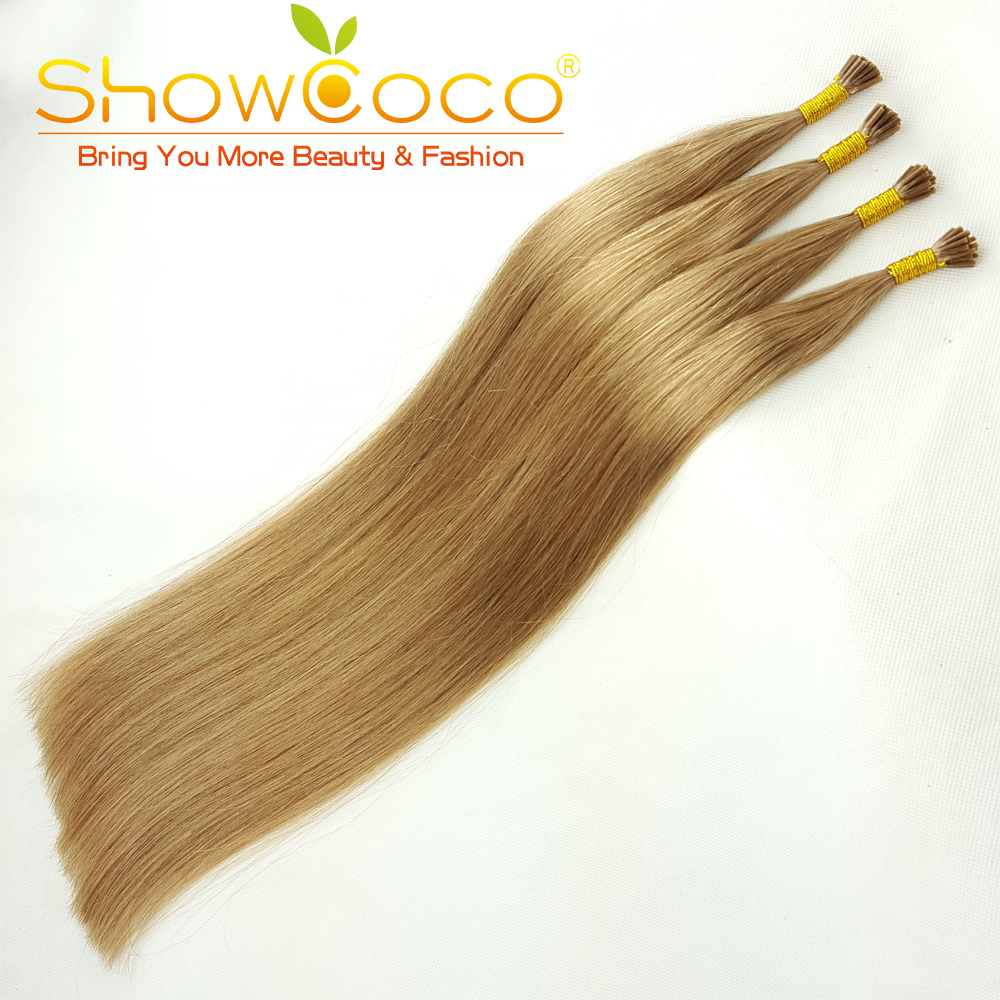 ShowCoco 200 Strands/pack I Tip Hair Extensions Human Hair Remy Silky Straight Soft Thick Stick Tip Hair Extensions Natural 16