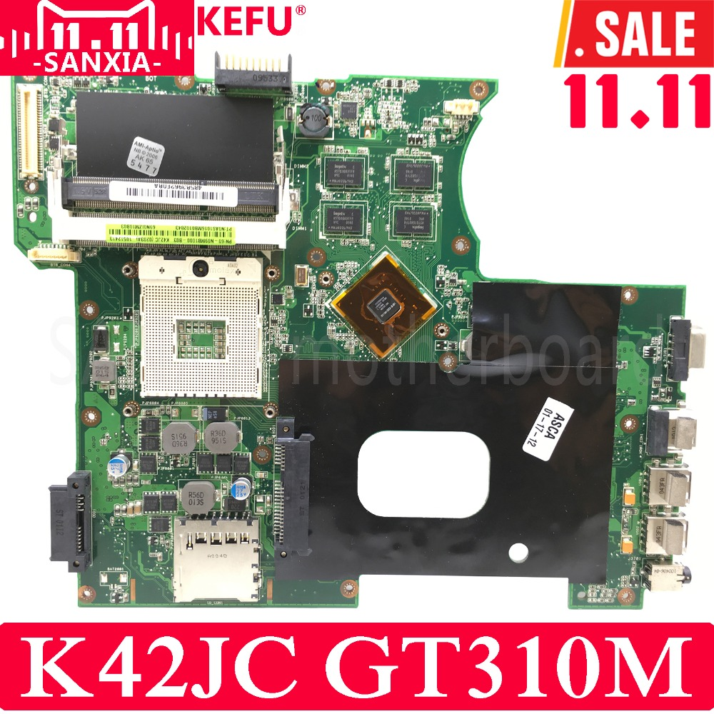 KEFU K42JC Laptop motherboard for ASUS K42JC K42J A42J K42J X42j A40J K42 Test original mainboard GT310M jianglun for asus k42j k42jr k42dr k42jc k42f dc power jack io wlan pcb board 60 n09io1000 b2