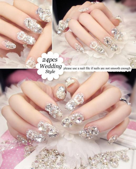 bedec917195 24 pieces (Pre-glue) Noble Manicure 3D Rhinestone Glitters Bling Decoration  Long Fake