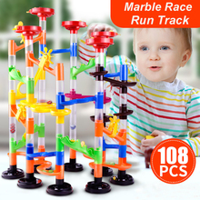 108PCS DIY Construction Marble Race Run Maze Balls Pipeline Type Track Building Blocks Baby Educational Block Toy For Children 72pcs diy construction marble race run track set