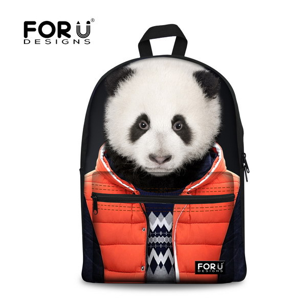 Cute Children Girls Canvas Panda Dog Backpack School Campus Kids Bagpack Fashionable Animal Tiger Head Printing