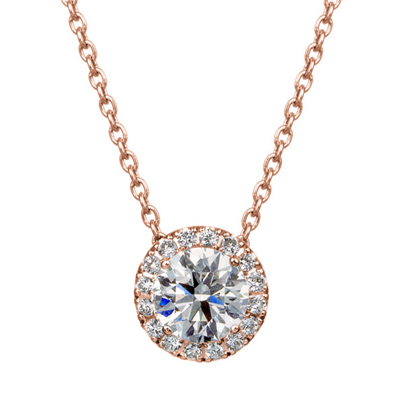 18k Rose Gold 0.4ctw Diamond Pendant Halo Accents Prong Set Natural Diamond Pendant Necklace Fine Jewelry