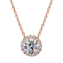 LASAMERO 18k Rose Gold 0 4ctw Diamond Pendant Halo Accents Prong Set Natural Diamond Pendant Necklace