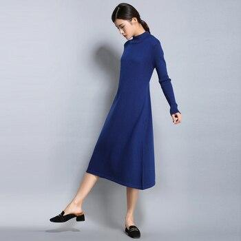 2019 Hot Sale Women Cashmere Blend Knitting Dress Winter Warm Turtleneck Woman Knit Wear Longer Woolen Woman's Gown Clothing