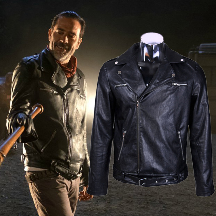 Movie The Walking Dead Negan Men'S Black Leather Jackets Cosplay PU Slim Motorcycle Coat Plus Size