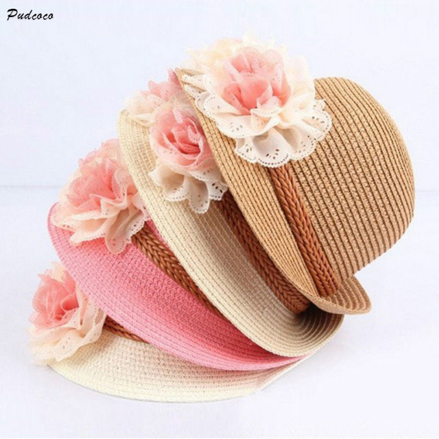 Pudcoco Cappelli Floreali per il Capretto Ragazze Della Spiaggia di Estate  Cappelli Cappelli di Paglia sole 2f4ca2f107cc