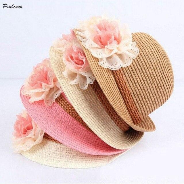 e587073336c36 Pudcoco floral sombreros para niños Niñas verano playa sombreros tapas de  paja Sol beachwear niños CAPS