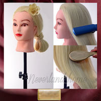 Latest Blonde 85 Real Hair Hairdressing Training Head Salon School Mannequin Head Manikin Hair Styling Doll