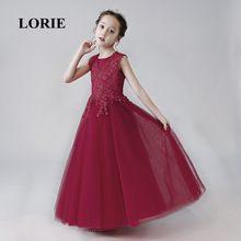 e354b9212c457 Bordeaux fleur fille robes 2019 o-cou une ligne Appliques fille robes de  fête dentelle bleu marine robe pour fille Pageant livra.