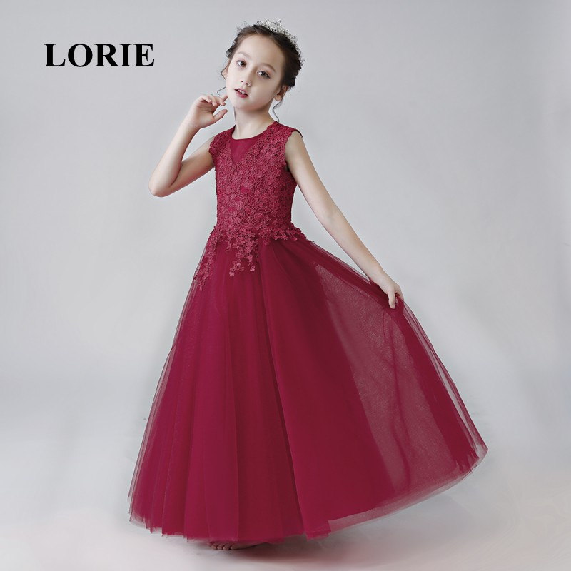 Burgundy   Flower     Girl     Dresses   2019 O-Neck A Line Appliques   Girl   Party   Dresses   Lace Navy Blue   Dress   For   Girl   Pageant Free Shipping
