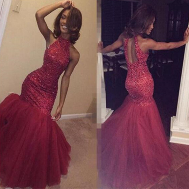 Sparkly Vintage Burgundy Hollow Prom Dress New Mermaid After Party ...