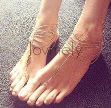 Мода многослойные кисточкой Toe лодыжке браслет ножной браслет цепи ссылка ног JL-008