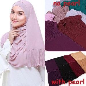 Image 1 - New long scarf Patchwork Popular bubble chiffon Scarf Wrinkle hijab pearl Pleat Scarf stitching Muffler muslim scarves