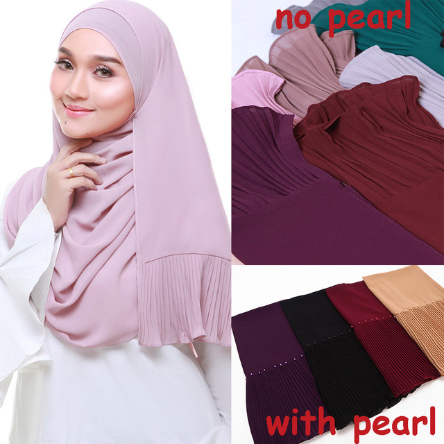 New long scarf Patchwork Popular bubble chiffon Scarf Wrinkle hijab pearl Pleat Scarf stitching Muffler muslim scarves