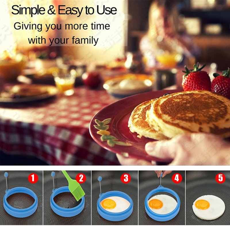 4 Pack Silicone Egg Fried Ring Round Mold Pancake Breakfast Cooking Tool Kitchen