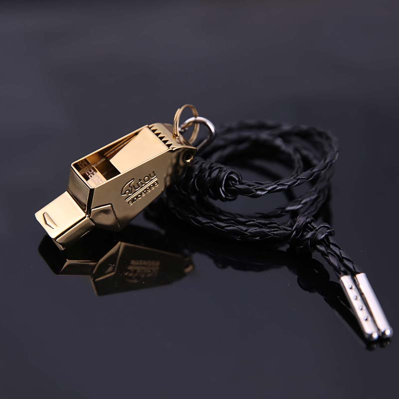 High Quality Gold/Sliver football referee whistle Emergency Survival Whistle free laser with lanyard Camping Hiking rugby