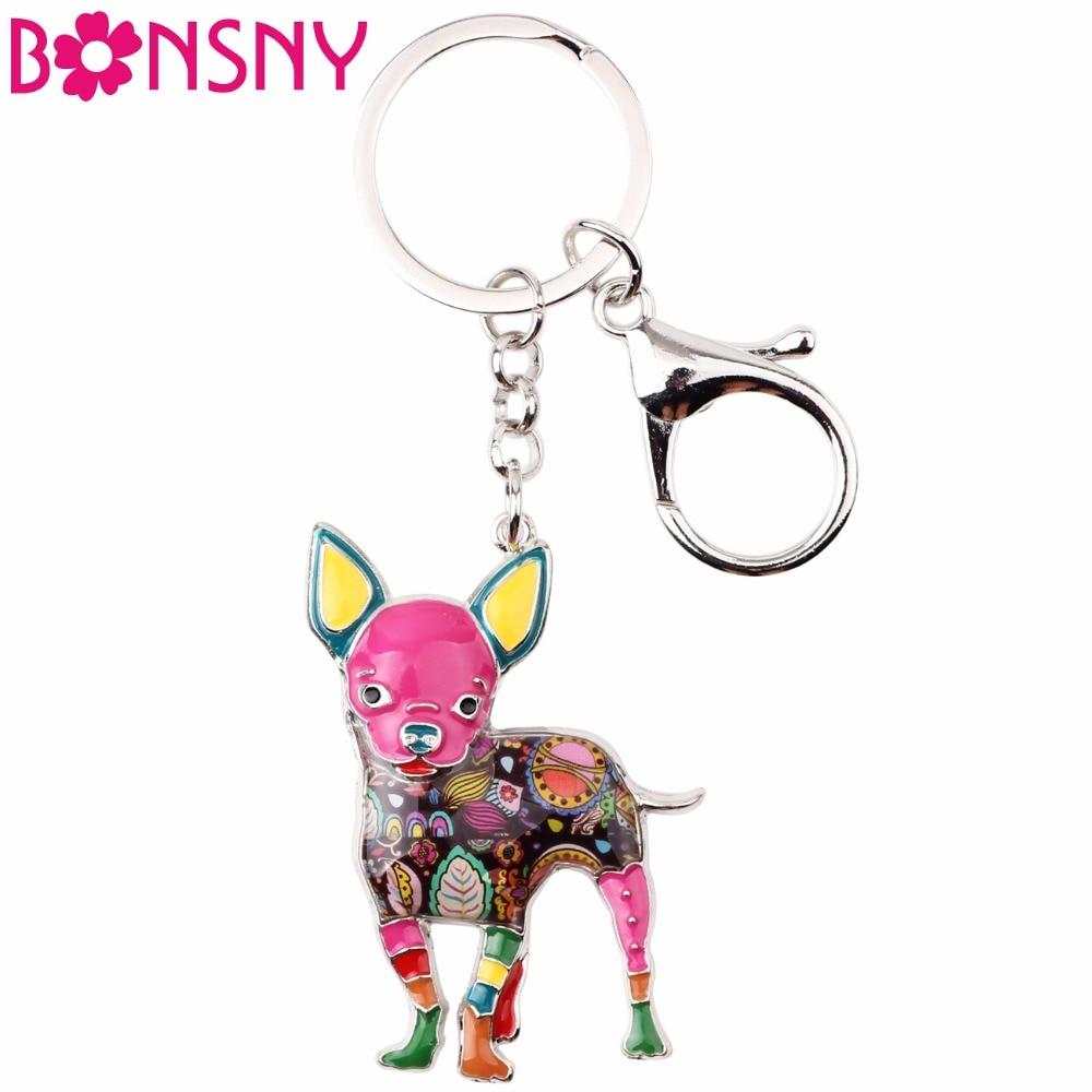 Bonsny Enamel Alloy Cute Chihuahuas Dog Key Chain Keychains Ring Gift For Women Girls Bag Car Pendant Fashion Animal Jewelry New