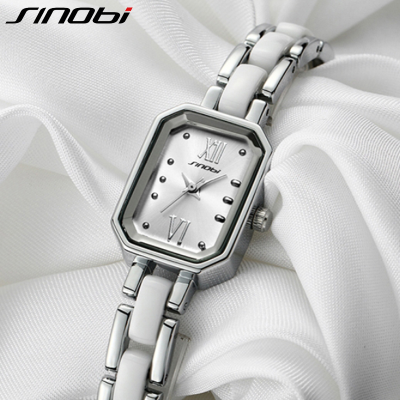 SINOBI Women Bracelet Watches Luxury Rectangle Dial Creative Quartz Watch Simulated Ceramic Ladies Watches Relogio Feminino 2018 sinobi ceramic watch women watches luxury women s watches week date ladies watch clock montre femme relogio feminino reloj mujer
