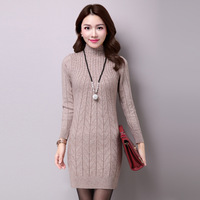 2016 Winter Autumn Sweater Dress Turtleneck Long Sleeve Solid Knitted Long Women Sweaters And Pullovers Sueter