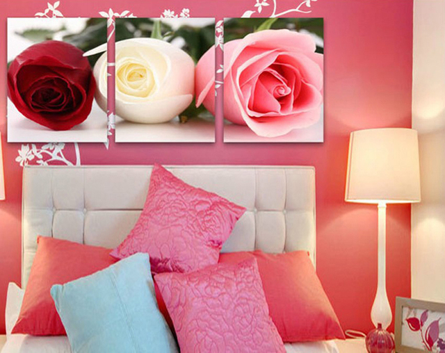 2017 Three Pink Roses Full Bloom Fashion Modern Living Room ...
