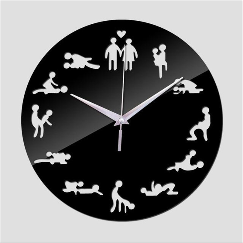 new <font><b>sex</b></font> position wall clock modern design self adhesive 3d wall clock for living room mirror silent quartz <font><b>watch</b></font> sticker klok image