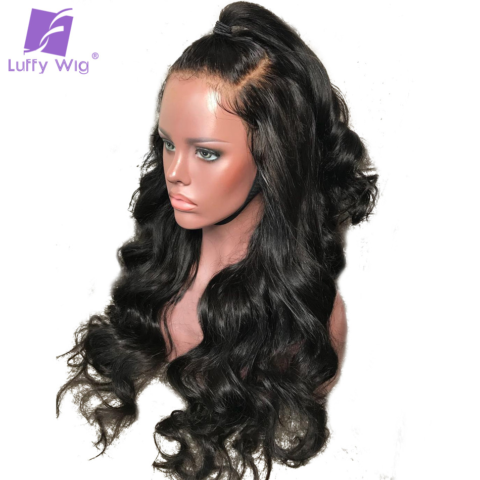 Luffy Brazilian Pre Plucked Full Lace Human Hair Wigs With Baby Hair Glueless Non remy Hair Water Wave Natural Black For Women