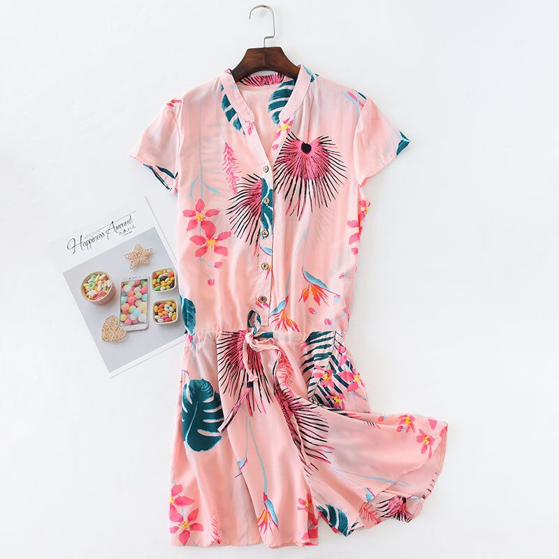 Summer Cotton   Nightgowns   Short Sleeve Print Nightdress V-Neck   Sleepshirt   Pyjama Sleepwear Casual Nightwear Kawaii Lingerie Dress