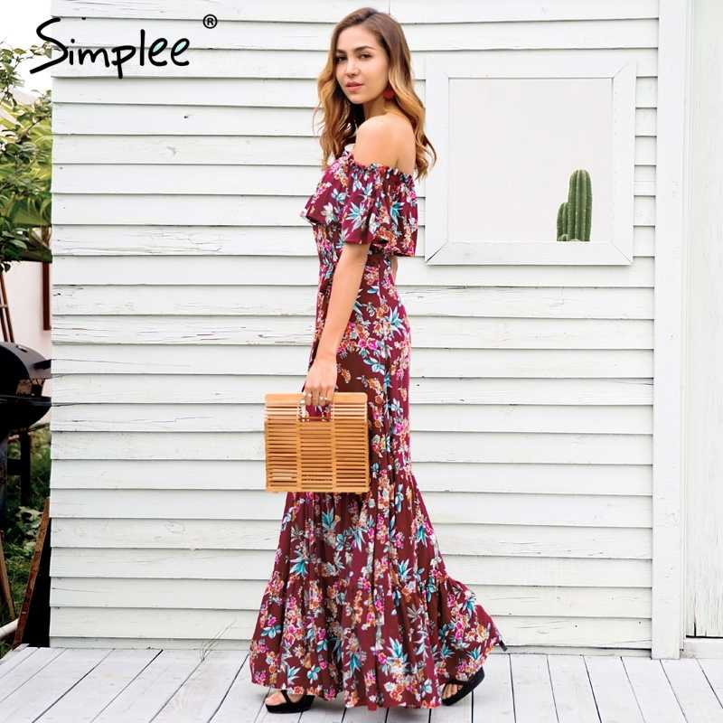 23284a44796 ... Simplee Off shoulder floral print summer dress women 2018 Casual boho  maxi dress dress Spring elegant ...