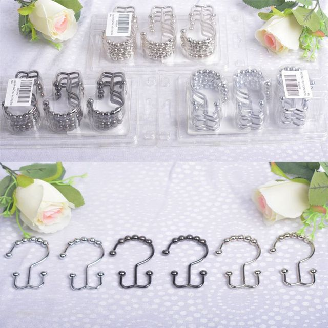 12 Pcs Set Stainless Steel Hook Bathroom Decorative Rustproof Metal Double Glide Shower Curtain Hooks