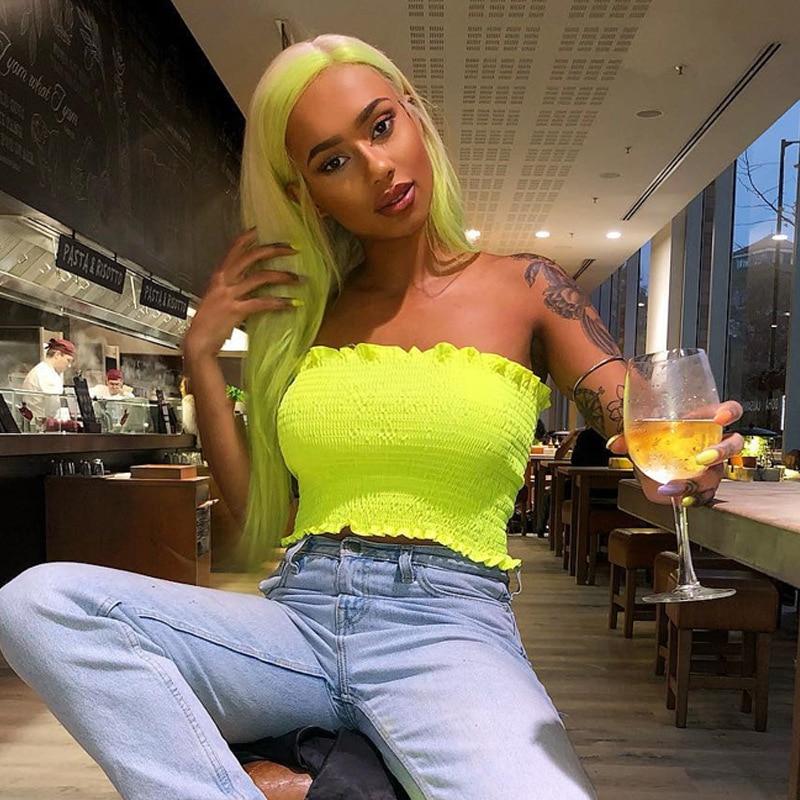 Neon Green Elastic   Tank     Tops   Women Sleeveless Tube   Tops   Summer Fahsion Fluorescence Bra Bodycon Slim Party Casual Crop   Tops