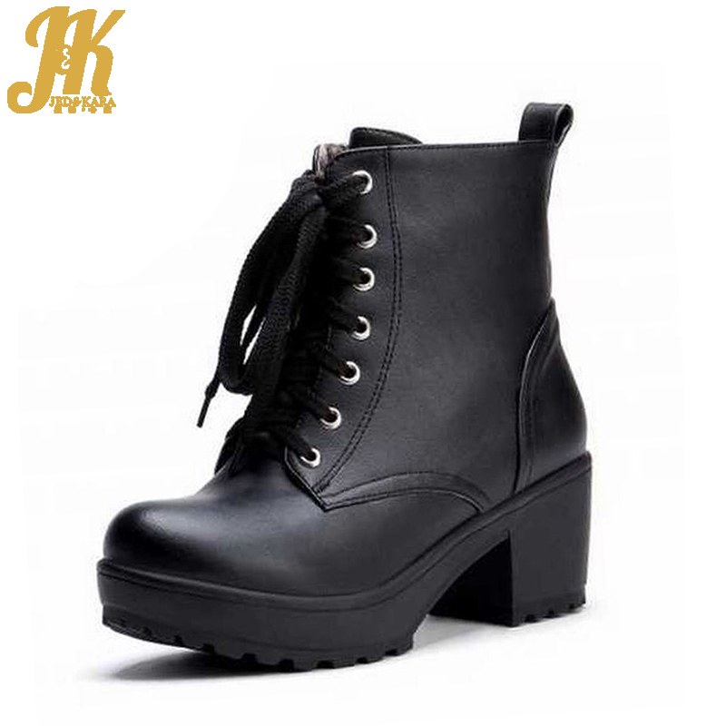 2017 chunky heels women lace up motorcycle boots fashion lace up motorcycle boots fashion winter spring