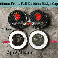 Insigne de botte arrière de capot avant emblème insigne de Logo automatique 2 pcs/lot 68mm couleur de noir de carbone pour SAAB 9-3 9-5 93 95 BJ SCS logo casquettes