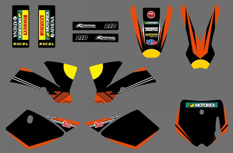 0544 Black &Orange Bull NEW GRAPHICS <font><b>DECALS</b></font> For <font><b>KTM</b></font> 50 SX 2002 2003 2004 2005 2006 2007 <font><b>2008</b></font> image